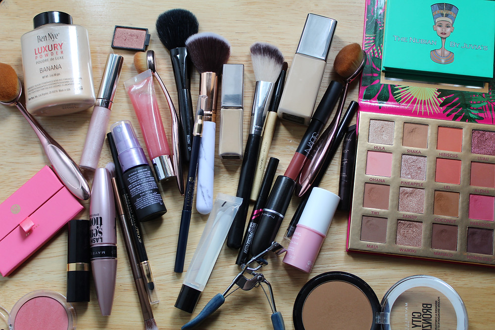 makeup products on display