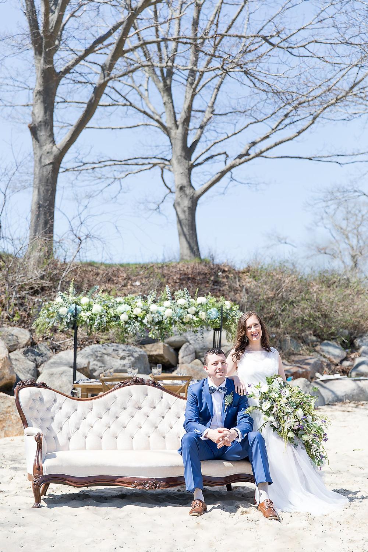 Beachy bride and groom!