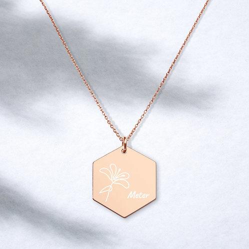Gegraveerde ketting - hexagon