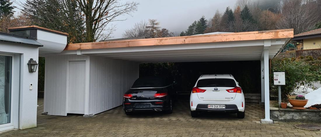 Couvert pour 2 véhicules toit plat