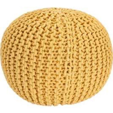 Home Cotton Knitted yellow Pod Footstool