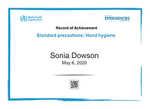 Hand Hygiene record of achievements