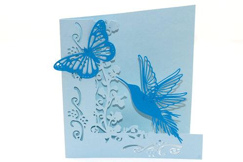 Blue humming bird & butterfly card