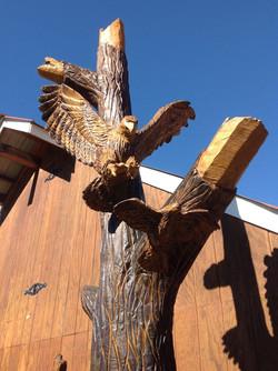 AM Sculptures- Hawk and Quail Stump
