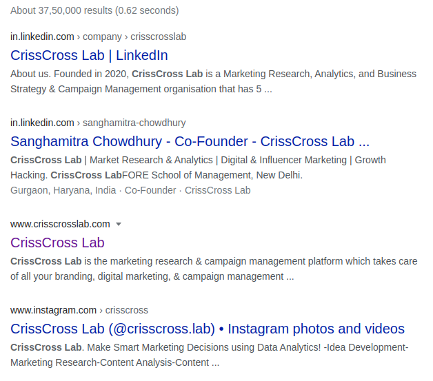 Google Search result of crisscross lab, a marketing agency which uses artificial intelligence for performance marketing in gurgaon, haryana