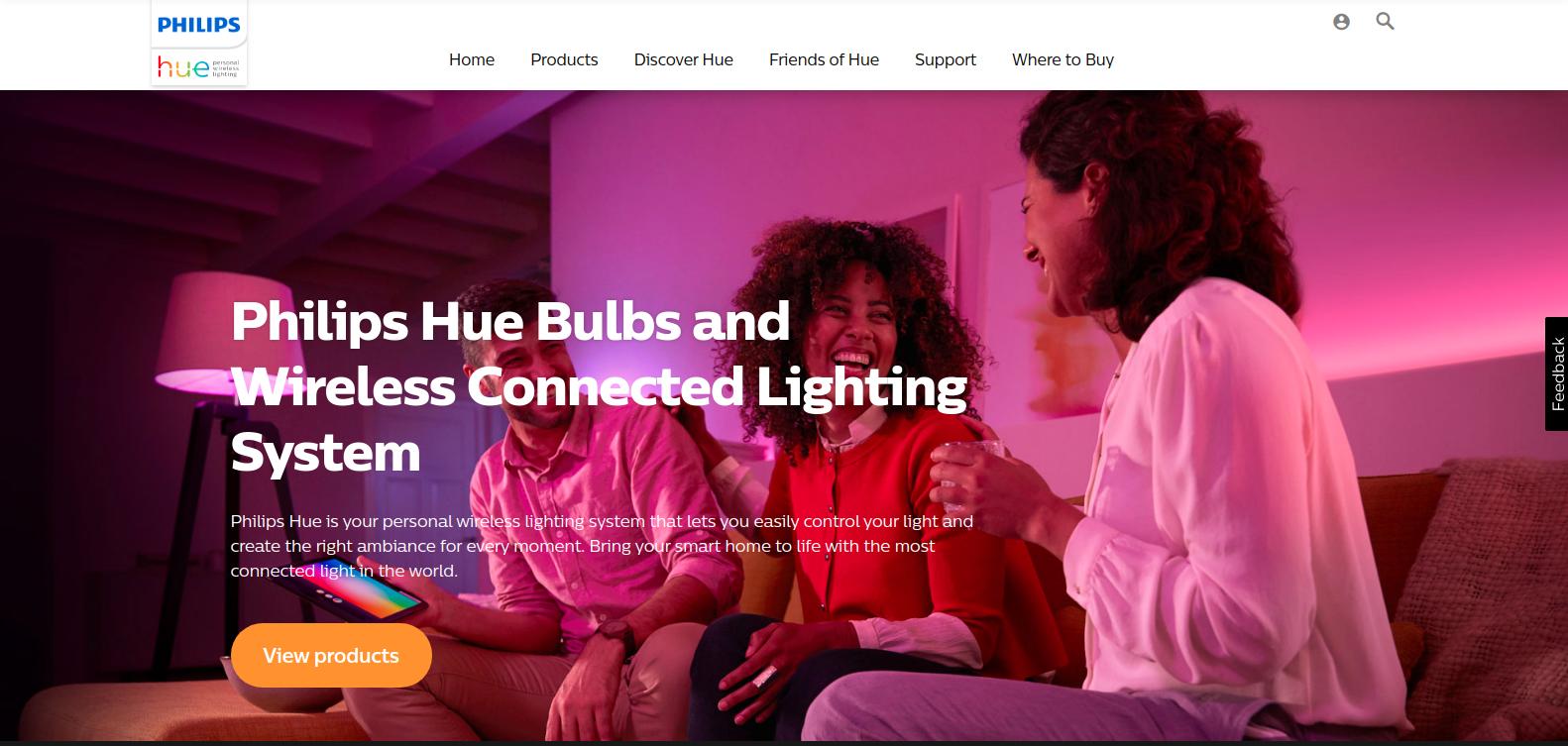 Philips Hue Homepage