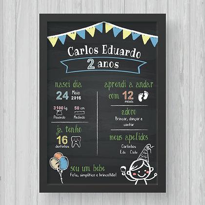 Chalkboard - Aniversário (Menino) - Fundo Preto