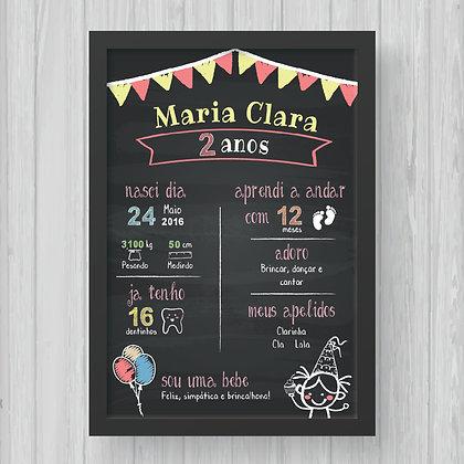 Chalkboard - Aniversário (Menina) - Fundo Preto
