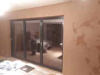 Bi-fold doors ,plastering
