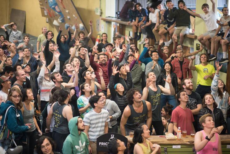 The crowd awaiting swag at Bridges Boulder Bash 3