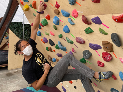 Benny on our Outdoor Bouldering Walls