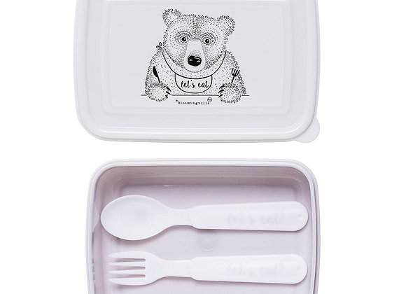 Bloomingville Pink Lunch Box with Cutlery (BPA Free)