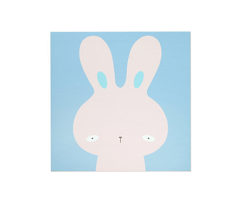 Bunny Whispers wood based canvas print 10x10""