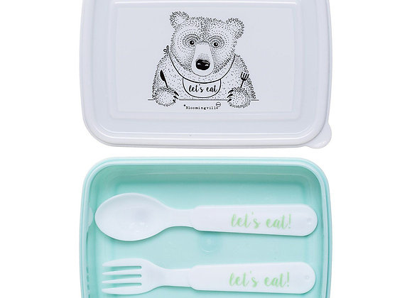 Bloomingville Mint Green Lunch Box with Cutlery (BPA Free)
