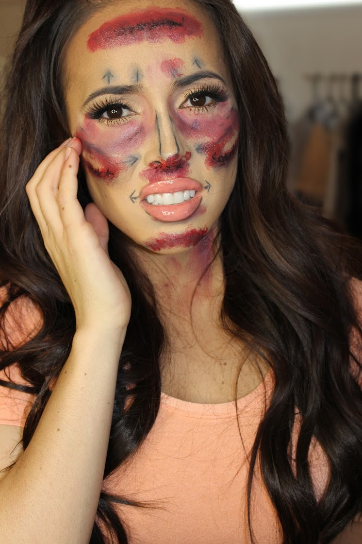Plastic Surgey Halloween makeup: Before and After