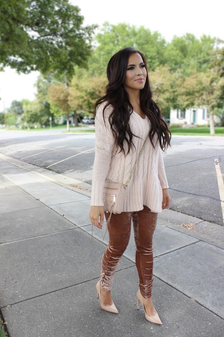 velvet leggings and sweater pink