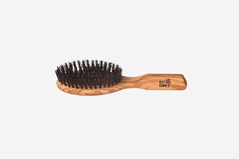Haarbürste Olivenholz mit Wildschweinborsten 9-reihig