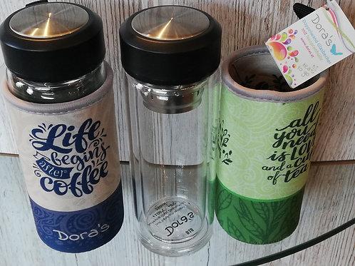Coffee und Tee to go Becher mit Schraubverschluss aus Glas 300ml