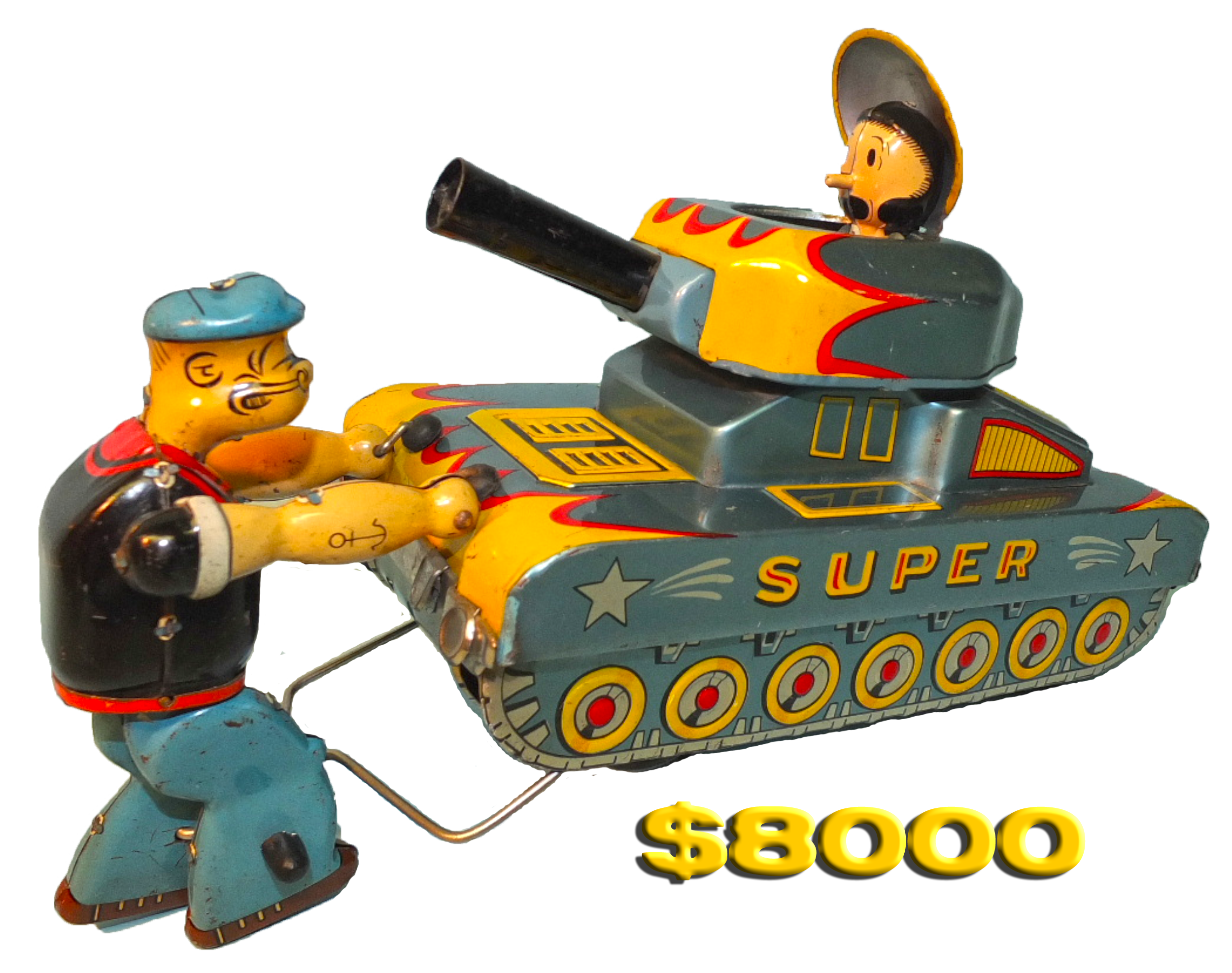 Linemar Marx Popeye Toy Tank