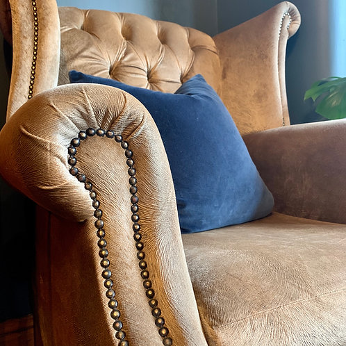 Bespoke winged armchair