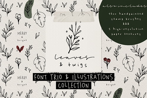Leaves and Twigs font trio & extras