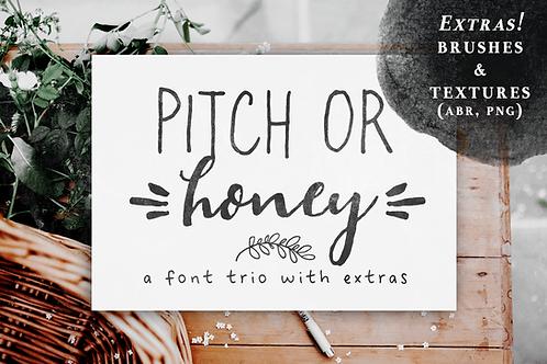 Pitch or Honey handmade font trio