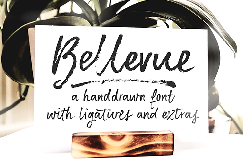 Bellevue brush font and textures