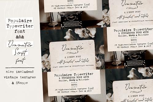 Vintage Typewriter and Script font pack