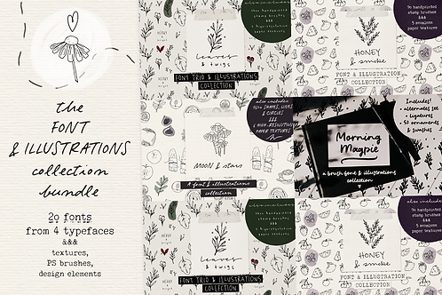 Fonts and illustrations bundle