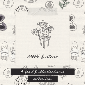 New! Moon and Stars font and illustrations