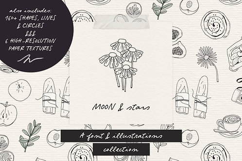 Moon And Stars script font & illustrations