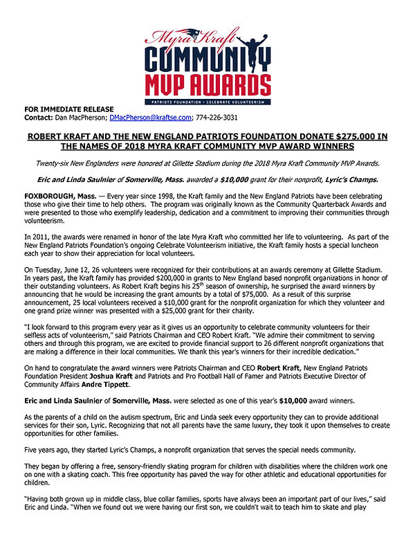 2018 Myra Kraft Community MVP Awards_Sau