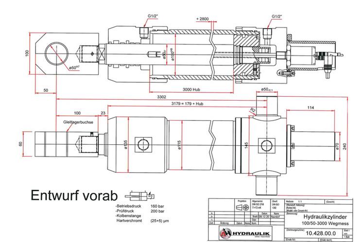 Hydraulikzylinder 100 50-3000 Wegmess