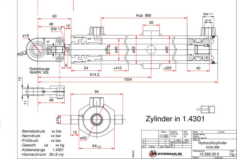 Hydraulikzylinder Zeichnung