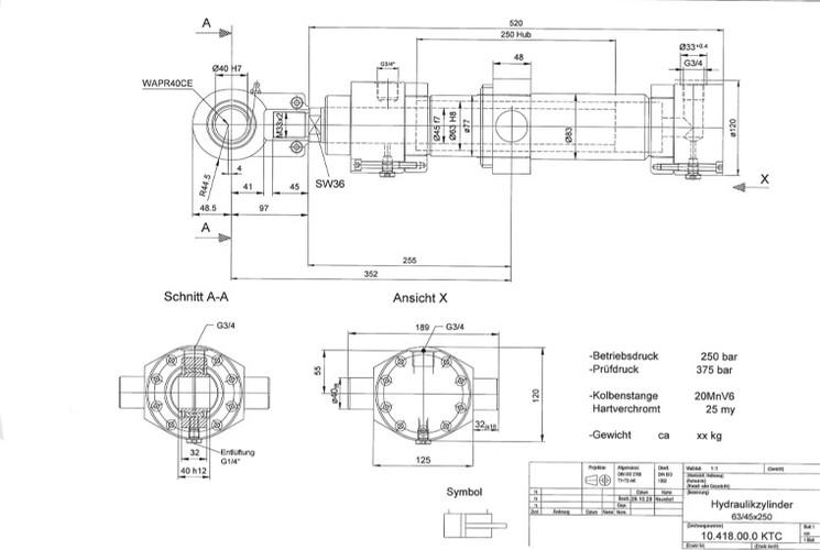 Hydraulikzylinder Zeichnung 2