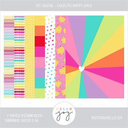 Kit Digital Scrapbook Papelaria - Coleção Happy Days Papéis