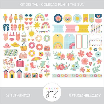Kit Digital Scrapbook Papelaria - Coleção Fun In The Sun Element