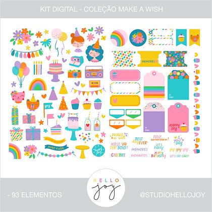 Kit Digital Scrapbook Papelaria - Coleção Make a Wish Elementos
