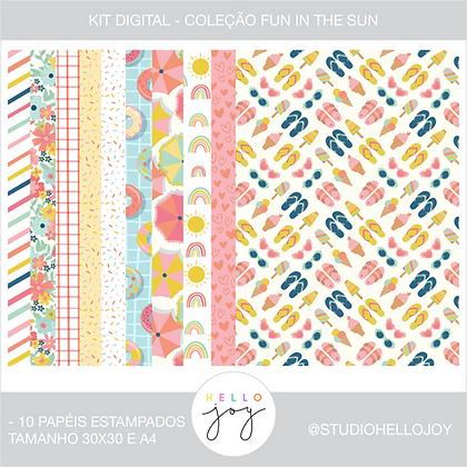 Kit Digital Scrapbook Papelaria - Coleção Fun In The Sun Papéis