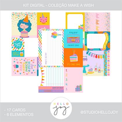 Kit Digital Scrapbook Papelaria - Coleção Make a Wish Cards