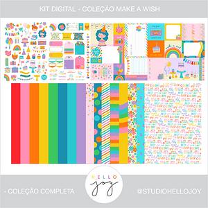 Kit Digital Scrapbook Papelaria - Coleção Make a Wish Completa