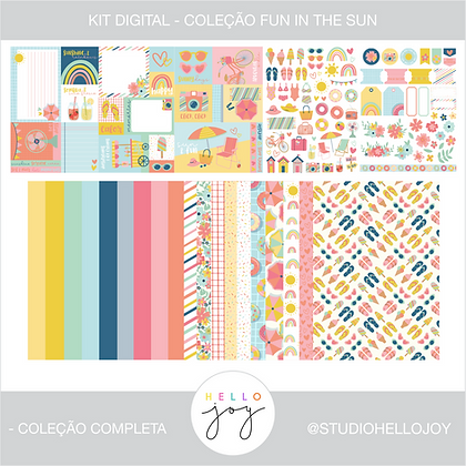 Kit Digital Scrapbook Papelaria - Coleção Fun In The Sun