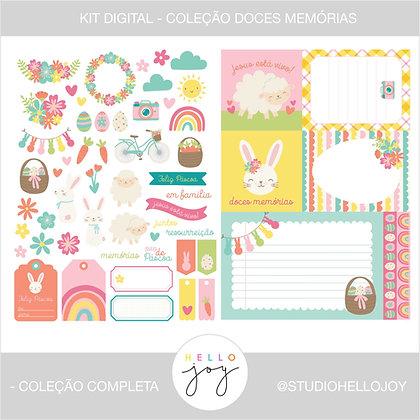 FREEBIE Kit Digital Scrapbook Papelaria - Doces Memórias