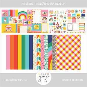 Kit Digital Scrapbook Papelaria - Coleção Sorria Todo Dia