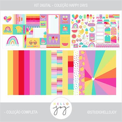 Kit Digital Scrapbook Papelaria - Coleção Happy Days Completa