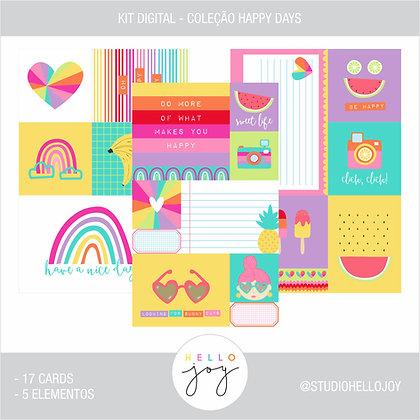 Kit Digital Scrapbook Papelaria - Coleção Happy Days Cards