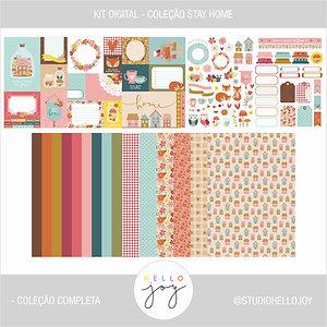 Kit Digital Scrapbook Papelaria - Coleção Stay Home