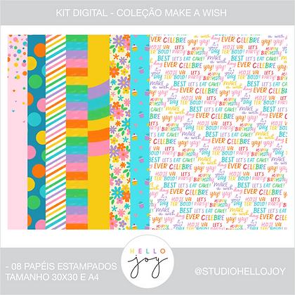 Kit Digital Scrapbook Papelaria - Coleção Make a Wish Papéis