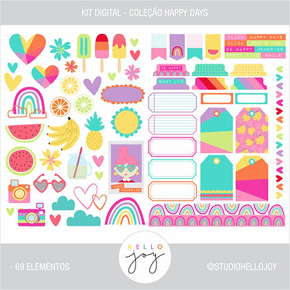 Kit Digital Scrapbook Papelaria - Coleção Happy Days Elementos