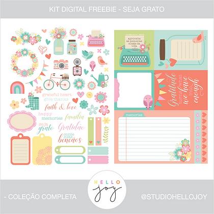 FREEBIE Kit Digital Scrapbook Papelaria - Seja Grato